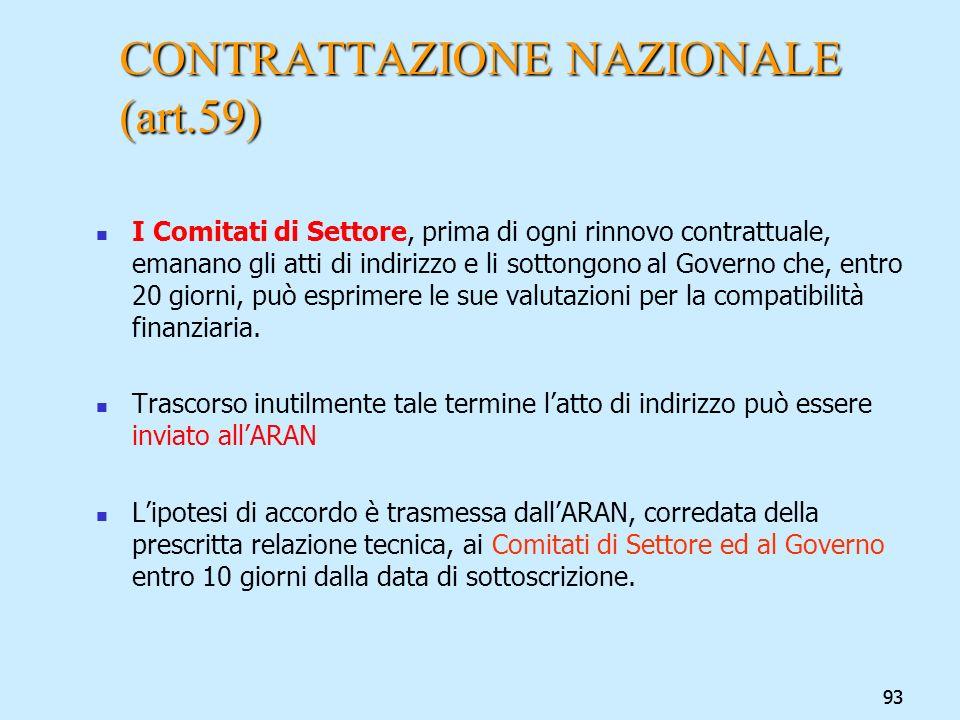 93 CONTRATTAZIONE NAZIONALE (art.59) I Comitati di Settore, prima di ogni rinnovo contrattuale, emanano gli atti di indirizzo e li sottongono al Gover