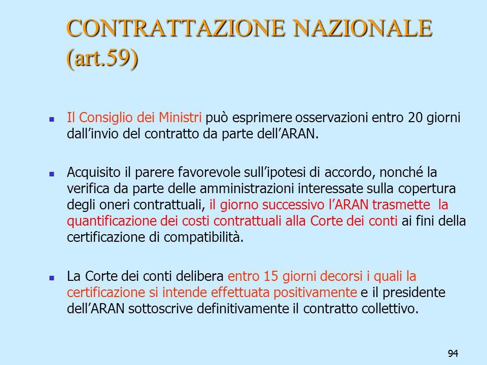 94 CONTRATTAZIONE NAZIONALE (art.59) Il Consiglio dei Ministri può esprimere osservazioni entro 20 giorni dallinvio del contratto da parte dellARAN. A