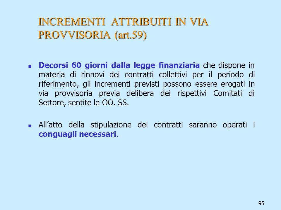 95 INCREMENTI ATTRIBUITI IN VIA PROVVISORIA (art.59) Decorsi 60 giorni dalla legge finanziaria che dispone in materia di rinnovi dei contratti collett