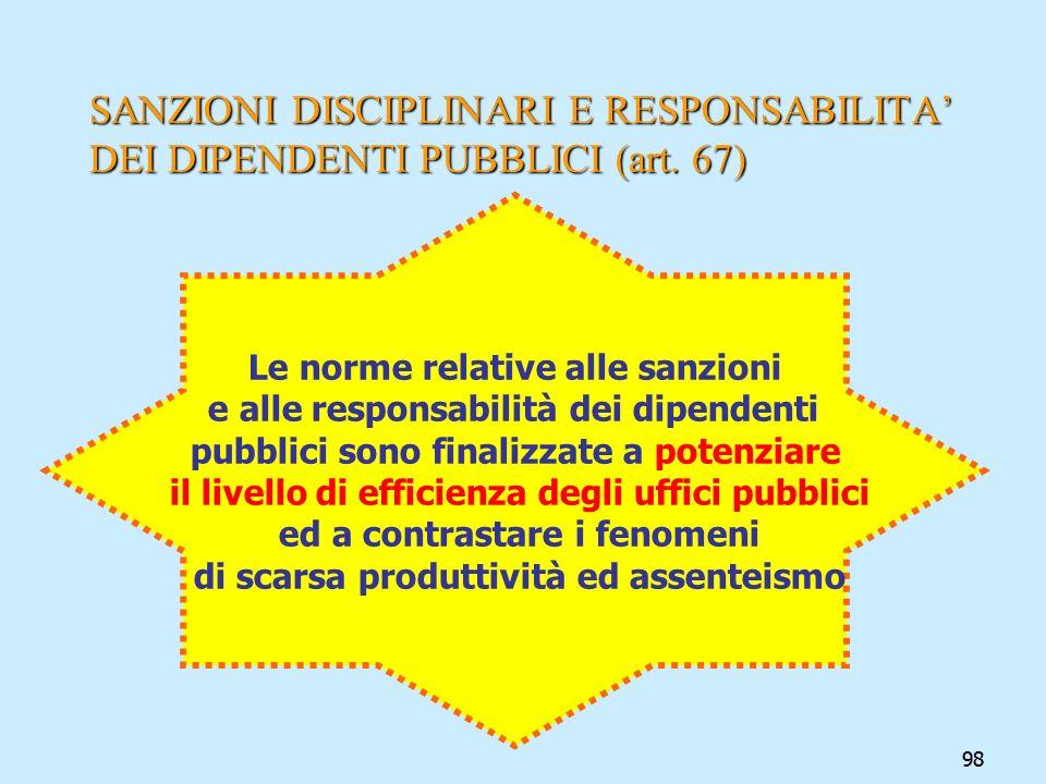 98 SANZIONI DISCIPLINARI E RESPONSABILITA DEI DIPENDENTI PUBBLICI (art. 67) Le norme relative alle sanzioni e alle responsabilità dei dipendenti pubbl