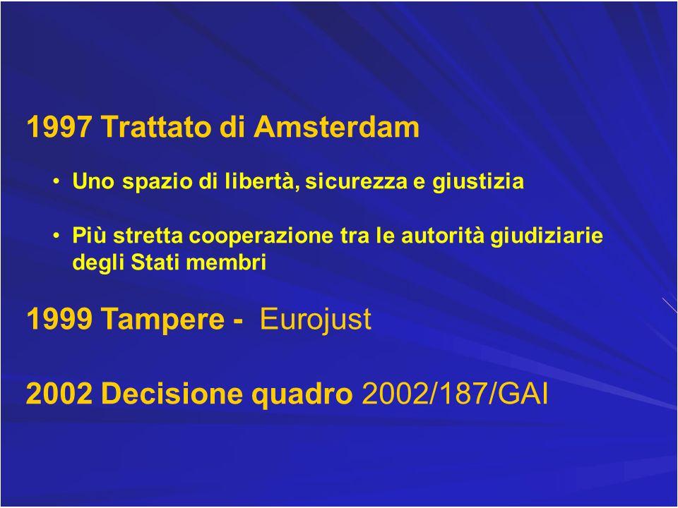 1997 Trattato di Amsterdam Uno spazio di libertà, sicurezza e giustizia Più stretta cooperazione tra le autorità giudiziarie degli Stati membri 1999 T