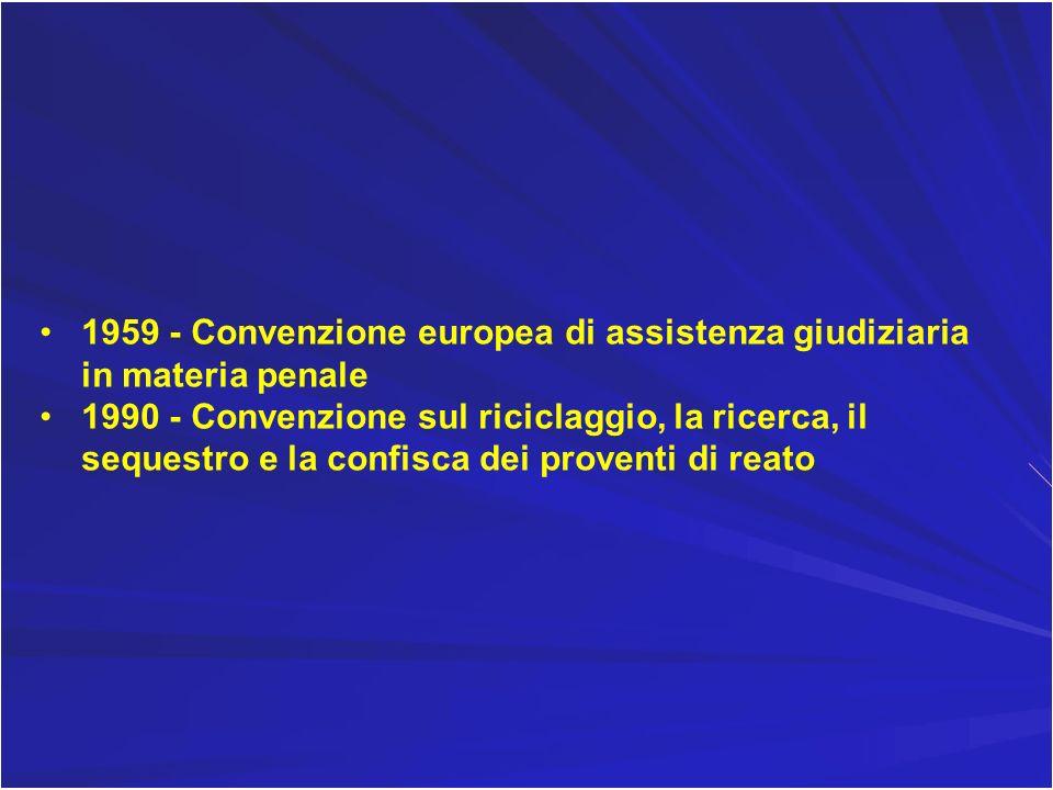 1959 - Convenzione europea di assistenza giudiziaria in materia penale 1990 - Convenzione sul riciclaggio, la ricerca, il sequestro e la confisca dei
