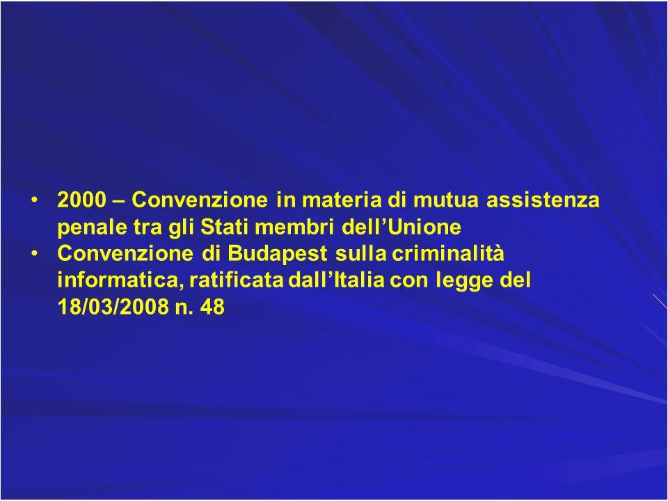 2000 – Convenzione in materia di mutua assistenza penale tra gli Stati membri dellUnione Convenzione di Budapest sulla criminalità informatica, ratifi