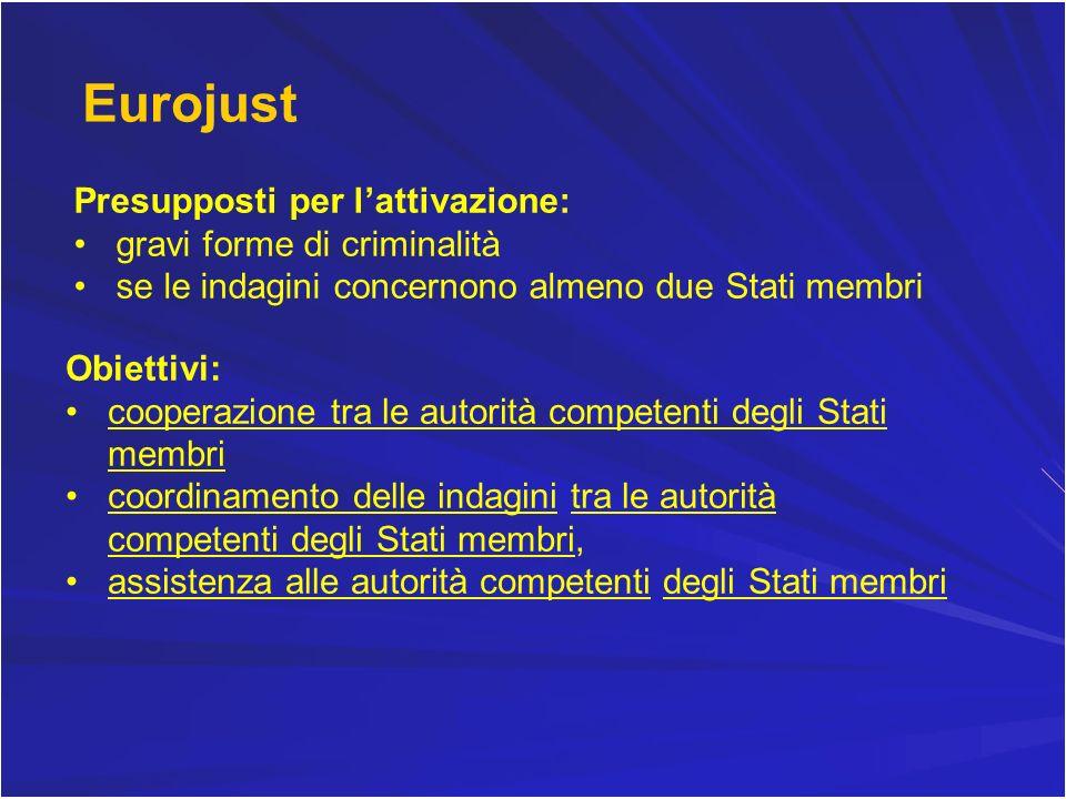 Eurojust Presupposti per lattivazione: gravi forme di criminalità se le indagini concernono almeno due Stati membri Obiettivi: cooperazione tra le aut