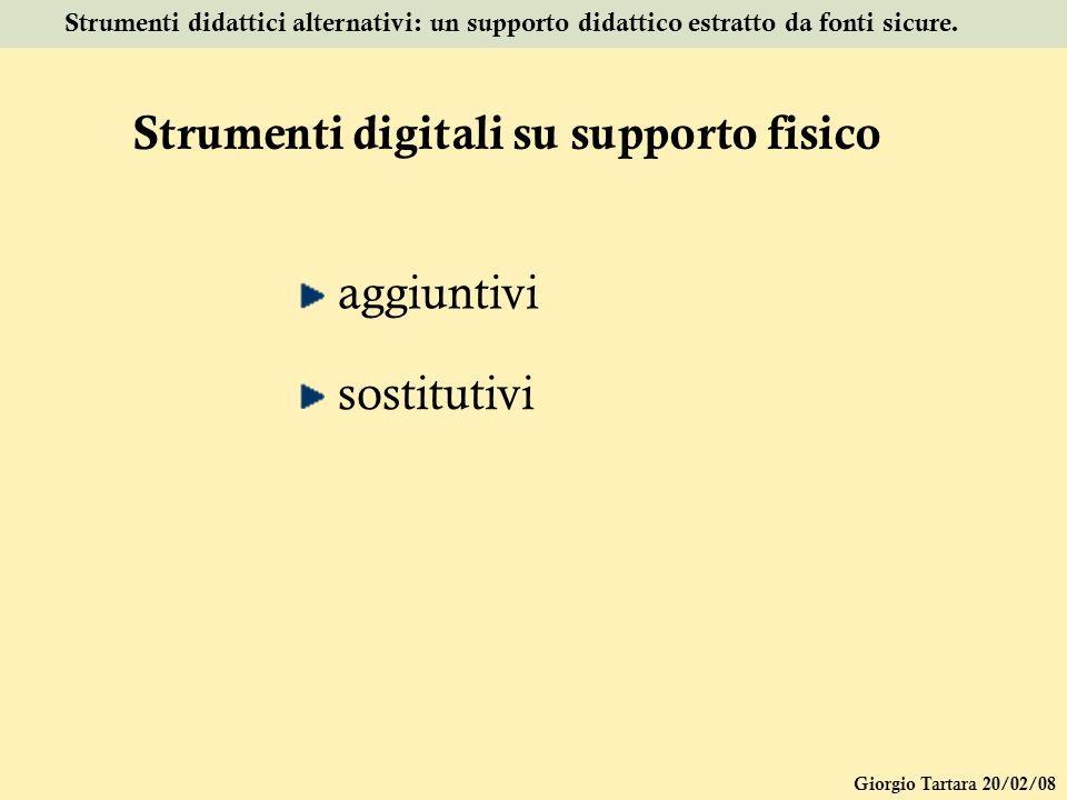 Giorgio Tartara 20/02/08 Strumenti didattici alternativi: un supporto didattico estratto da fonti sicure. Strumenti digitali su supporto fisico aggiun