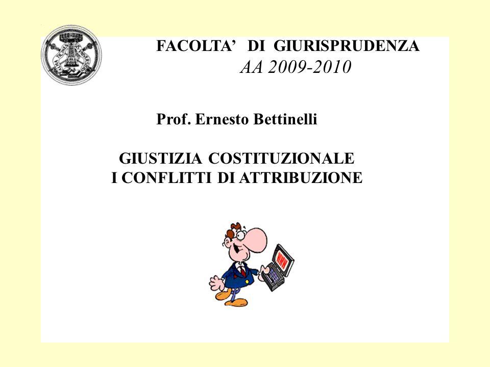 FACOLTA DI GIURISPRUDENZA AA 2009-2010 Prof. Ernesto Bettinelli GIUSTIZIA COSTITUZIONALE I CONFLITTI DI ATTRIBUZIONE