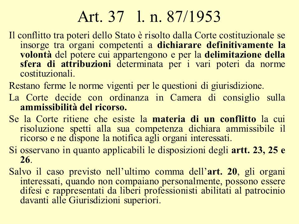 Art. 37 l. n. 87/1953 Il conflitto tra poteri dello Stato è risolto dalla Corte costituzionale se insorge tra organi competenti a dichiarare definitiv