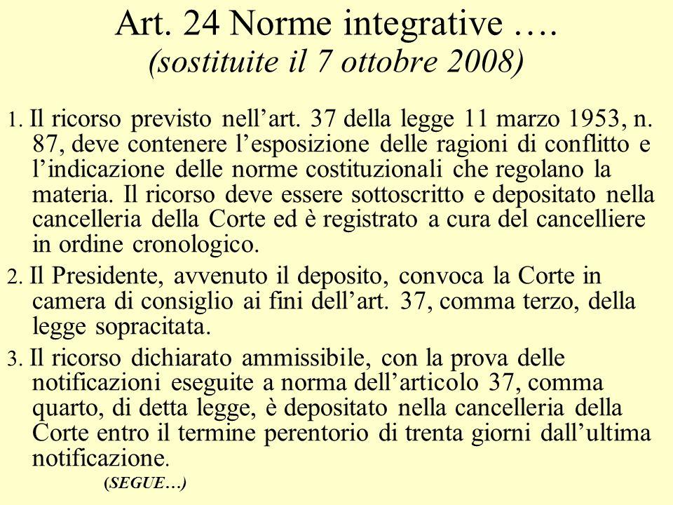 Art. 24 Norme integrative …. (sostituite il 7 ottobre 2008) 1. Il ricorso previsto nellart. 37 della legge 11 marzo 1953, n. 87, deve contenere lespos