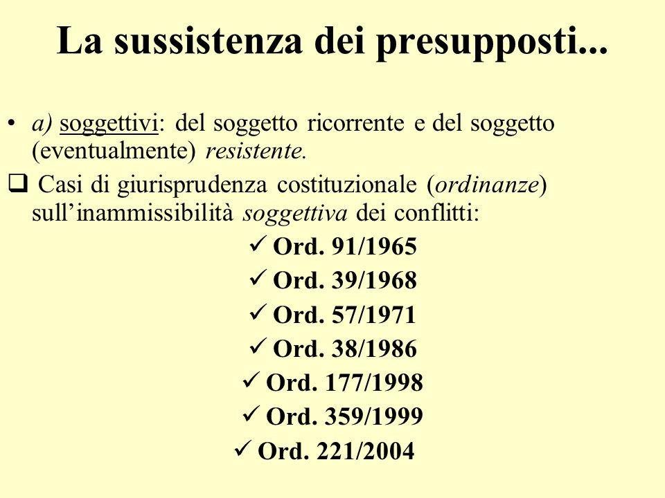 La sussistenza dei presupposti... a) soggettivi: del soggetto ricorrente e del soggetto (eventualmente) resistente. C asi di giurisprudenza costituzio