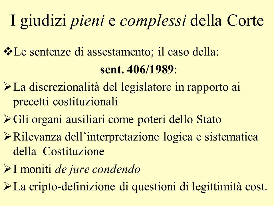 I giudizi pieni e complessi della Corte L e sentenze di assestamento; il caso della: sent. 406/1989: L a discrezionalità del legislatore in rapporto a