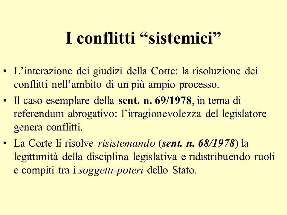 I conflitti sistemici Linterazione dei giudizi della Corte: la risoluzione dei conflitti nellambito di un più ampio processo. Il caso esemplare della