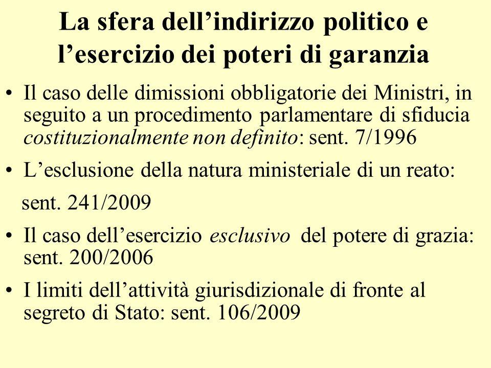 La sfera dellindirizzo politico e lesercizio dei poteri di garanzia Il caso delle dimissioni obbligatorie dei Ministri, in seguito a un procedimento p