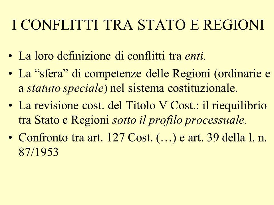 I CONFLITTI TRA STATO E REGIONI La loro definizione di conflitti tra enti. La sfera di competenze delle Regioni (ordinarie e a statuto speciale) nel s