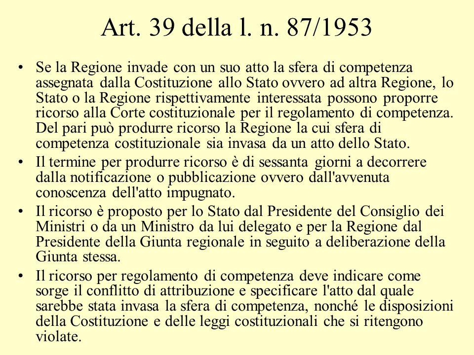 Art. 39 della l. n. 87/1953 Se la Regione invade con un suo atto la sfera di competenza assegnata dalla Costituzione allo Stato ovvero ad altra Region