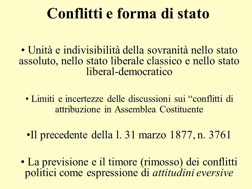 Conflitti e forma di stato Unità e indivisibilità della sovranità nello stato assoluto, nello stato liberale classico e nello stato liberal-democratic