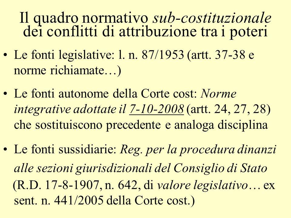 Il quadro normativo sub-costituzionale dei conflitti di attribuzione tra i poteri Le fonti legislative: l. n. 87/1953 (artt. 37-38 e norme richiamate…