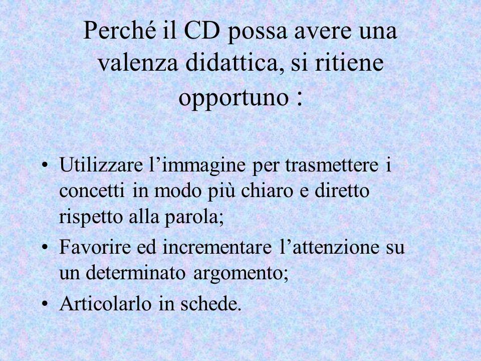 Perché il CD possa avere una valenza didattica, si ritiene opportuno : Utilizzare limmagine per trasmettere i concetti in modo più chiaro e diretto ri