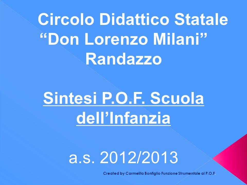 Created by Carmelita Bonfiglio Funzione Strumentale al P.O.F. Circolo Didattico Statale Don Lorenzo Milani Randazzo Sintesi P.O.F. Scuola dellInfanzia