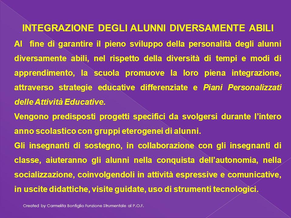 Created by Carmelita Bonfiglio Funzione Strumentale al P.O.F. INTEGRAZIONE DEGLI ALUNNI DIVERSAMENTE ABILI Al fine di garantire il pieno sviluppo dell