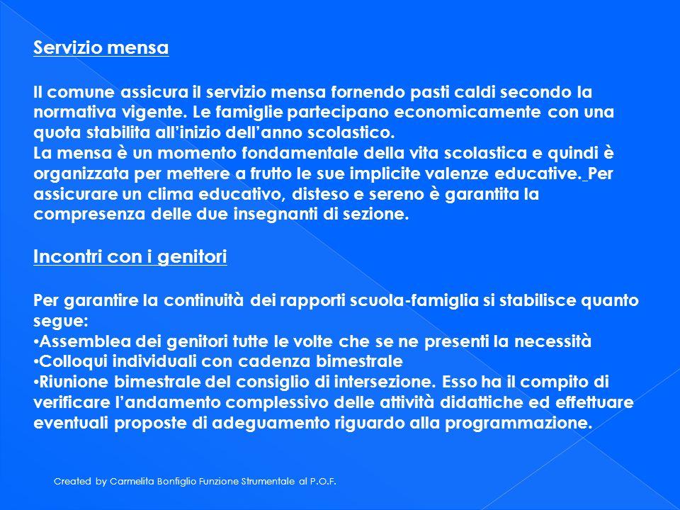 Created by Carmelita Bonfiglio Funzione Strumentale al P.O.F. Servizio mensa Il comune assicura il servizio mensa fornendo pasti caldi secondo la norm