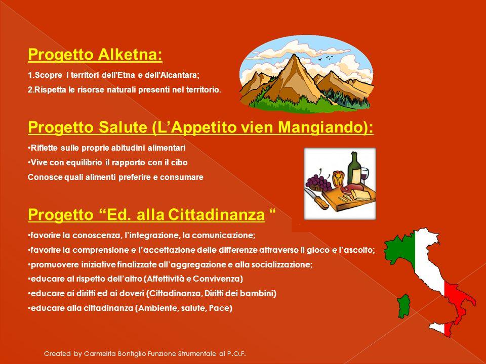 Created by Carmelita Bonfiglio Funzione Strumentale al P.O.F. Progetto Alketna: 1.Scopre i territori dellEtna e dellAlcantara; 2.Rispetta le risorse n