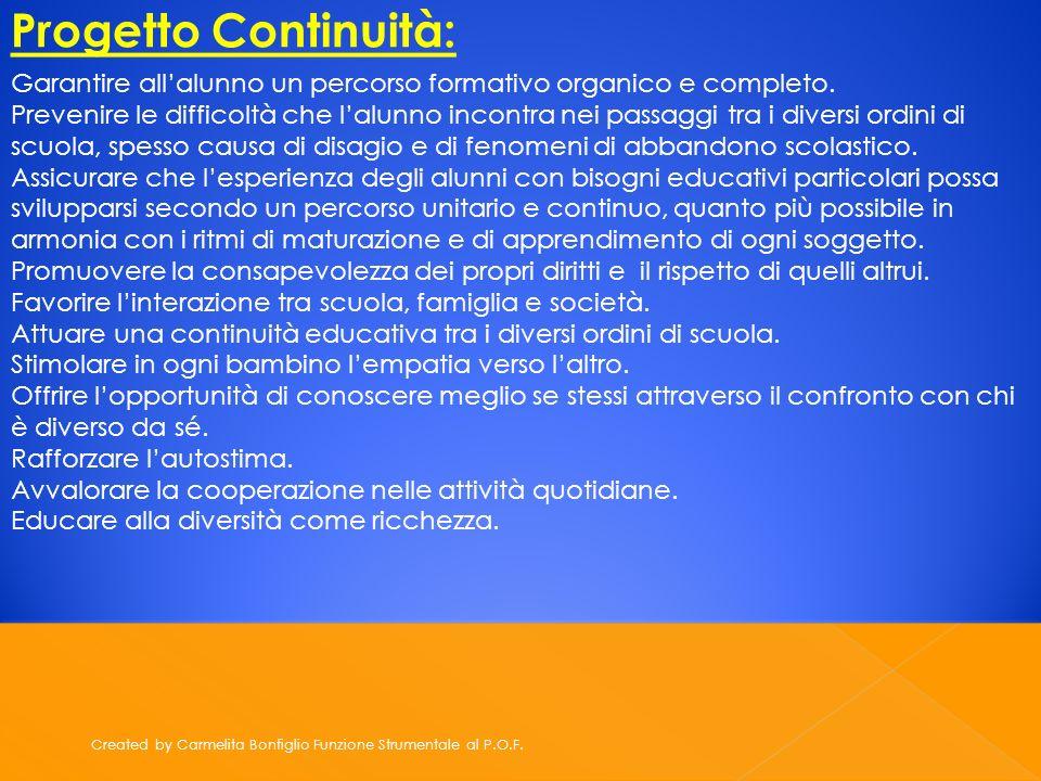 Created by Carmelita Bonfiglio Funzione Strumentale al P.O.F. Progetto Continuità: Garantire allalunno un percorso formativo organico e completo. Prev