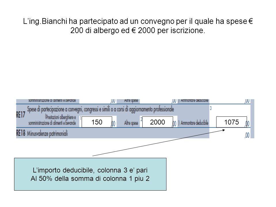 Ling.Bianchi ha partecipato ad un convegno per il quale ha spese 200 di albergo ed 2000 per iscrizione. 15020001075 Limporto deducibile, colonna 3 e p