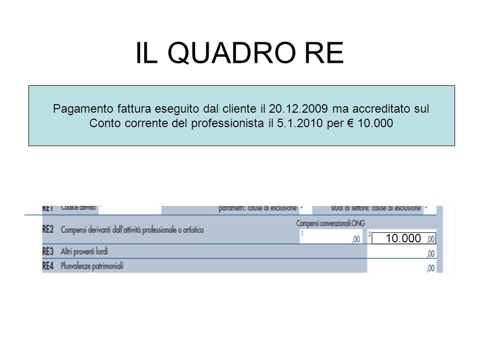 IL QUADRO RE Pagamento fattura eseguito dal cliente il 20.12.2009 ma accreditato sul Conto corrente del professionista il 5.1.2010 per 10.000 10.000