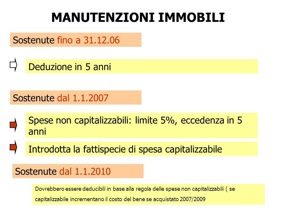 MANUTENZIONI IMMOBILI Sostenute fino a 31.12.06 Sostenute dal 1.1.2007 Deduzione in 5 anni Spese non capitalizzabili: limite 5%, eccedenza in 5 anni I