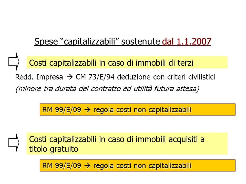 Costi capitalizzabili in caso di immobili di terzi Redd. Impresa CM 73/E/94 deduzione con criteri civilistici (minore tra durata del contratto ed util