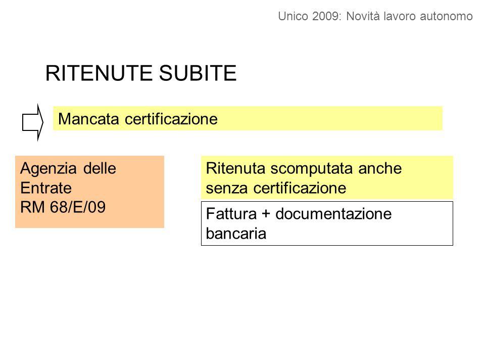 RITENUTE SUBITE Mancata certificazione Agenzia delle Entrate RM 68/E/09 Ritenuta scomputata anche senza certificazione Fattura + documentazione bancaria Unico 2009: Novità lavoro autonomo