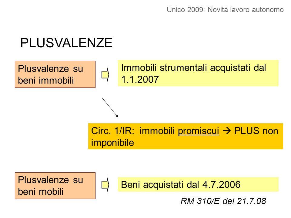 Plusvalenze su beni immobili Immobili strumentali acquistati dal 1.1.2007 Plusvalenze su beni mobili Beni acquistati dal 4.7.2006 RM 310/E del 21.7.08 Circ.