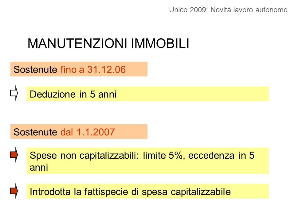 Spese 2007 su immobili ante 2007 Capitalizzo su un costo irrilevante dal 1.1.2007 Spese capitalizzabili sostenute dal 1.1.2007 CM 47/E/08 – risposta 3.1 Si applica la regola dei quinti (previgente) Unico 2009: Novità lavoro autonomo