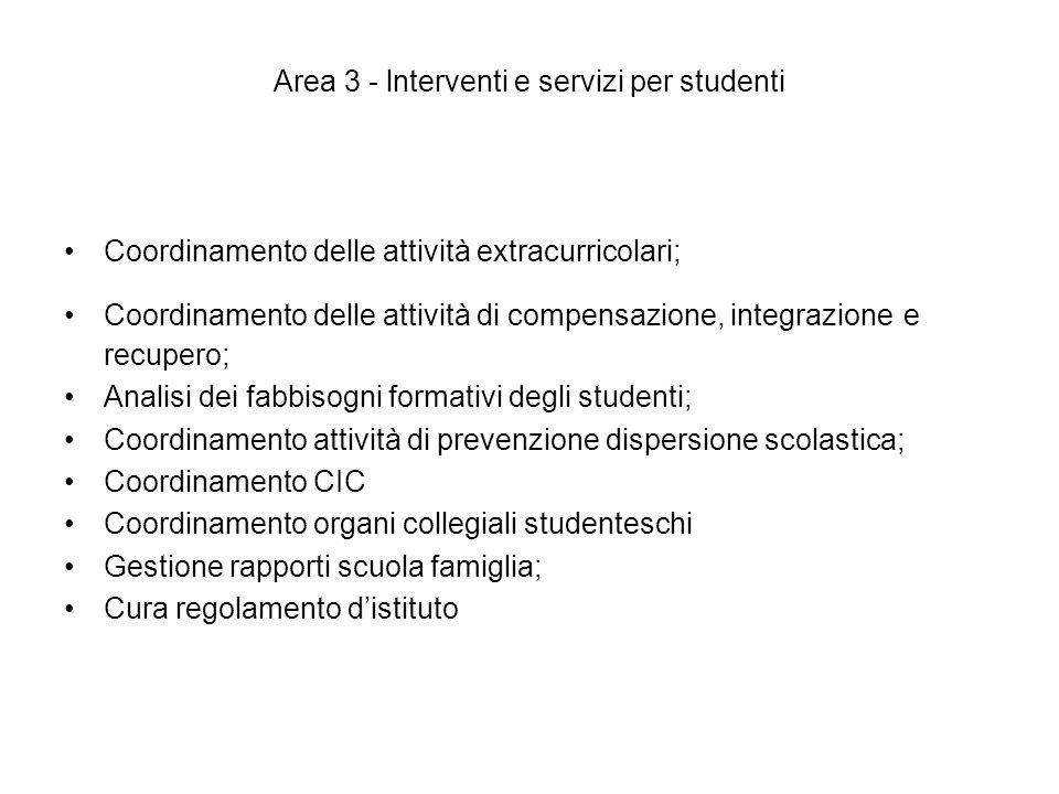 Area 3 - lnterventi e servizi per studenti Coordinamento delle attività extracurricolari; Coordinamento delle attività di compensazione, integrazione