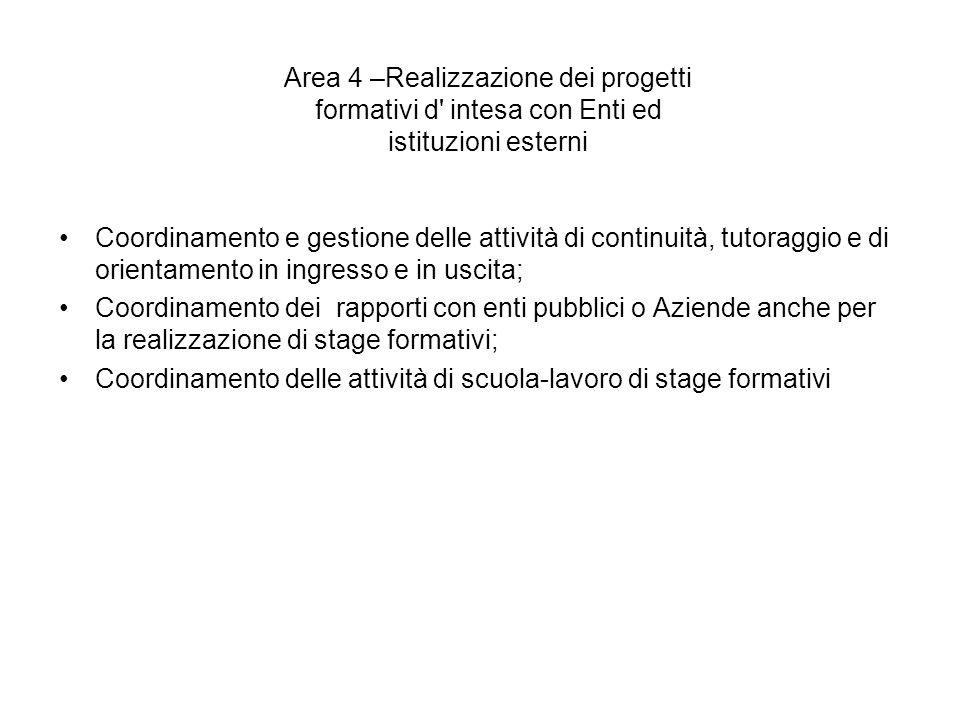 Area 4 –Realizzazione dei progetti formativi d' intesa con Enti ed istituzioni esterni Coordinamento e gestione delle attività di continuità, tutoragg