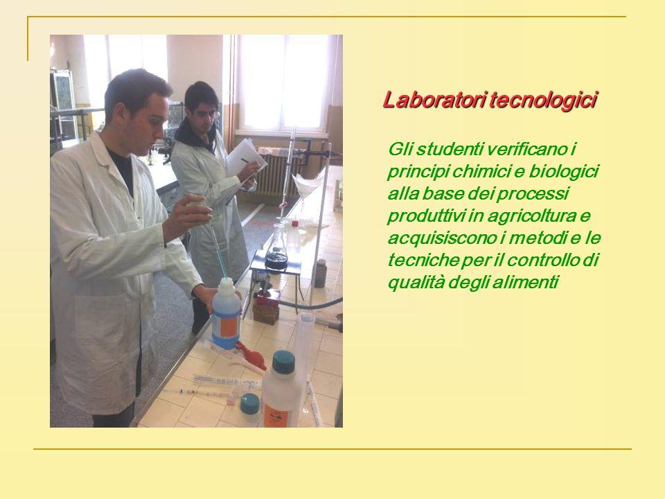 Laboratori tecnologici Gli studenti verificano i principi chimici e biologici alla base dei processi produttivi in agricoltura e acquisiscono i metodi
