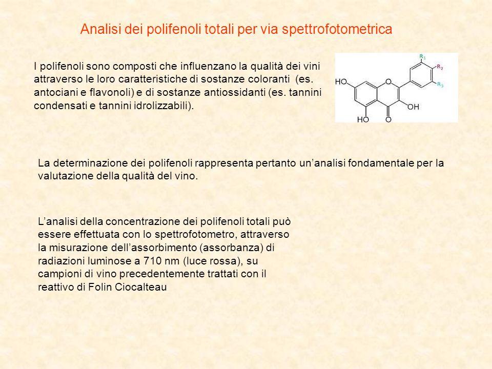 Analisi dei polifenoli totali per via spettrofotometrica I polifenoli sono composti che influenzano la qualità dei vini attraverso le loro caratterist