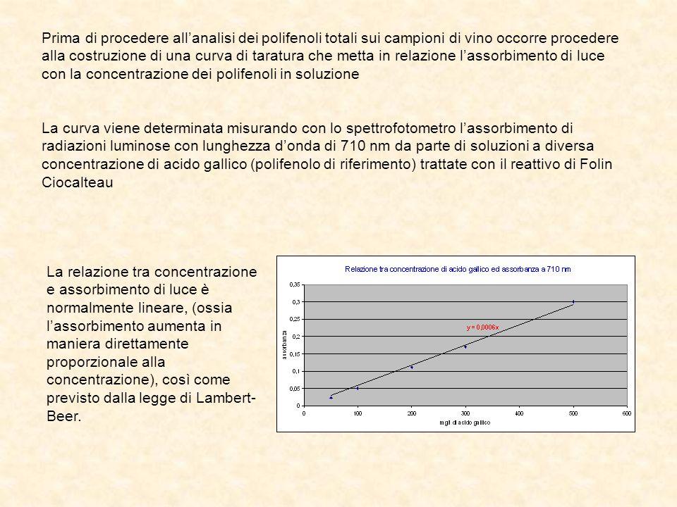 Prima di procedere allanalisi dei polifenoli totali sui campioni di vino occorre procedere alla costruzione di una curva di taratura che metta in rela