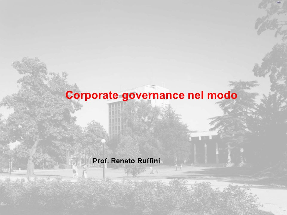 m&m Corporate governance nel modo Prof. Renato Ruffini