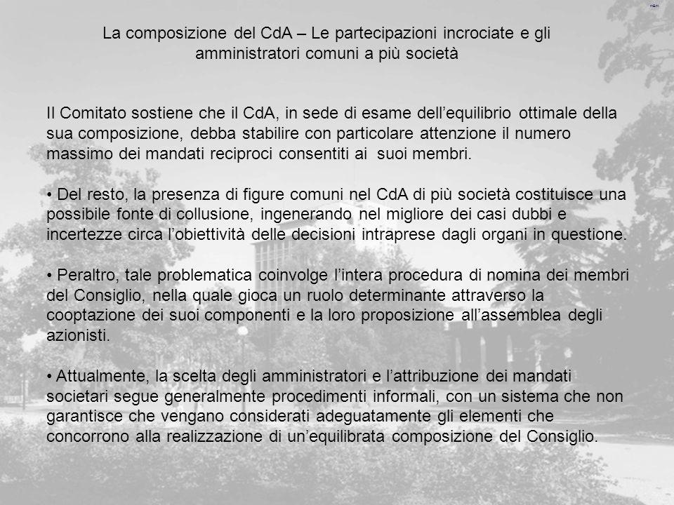 m&m Il Comitato sostiene che il CdA, in sede di esame dellequilibrio ottimale della sua composizione, debba stabilire con particolare attenzione il numero massimo dei mandati reciproci consentiti ai suoi membri.