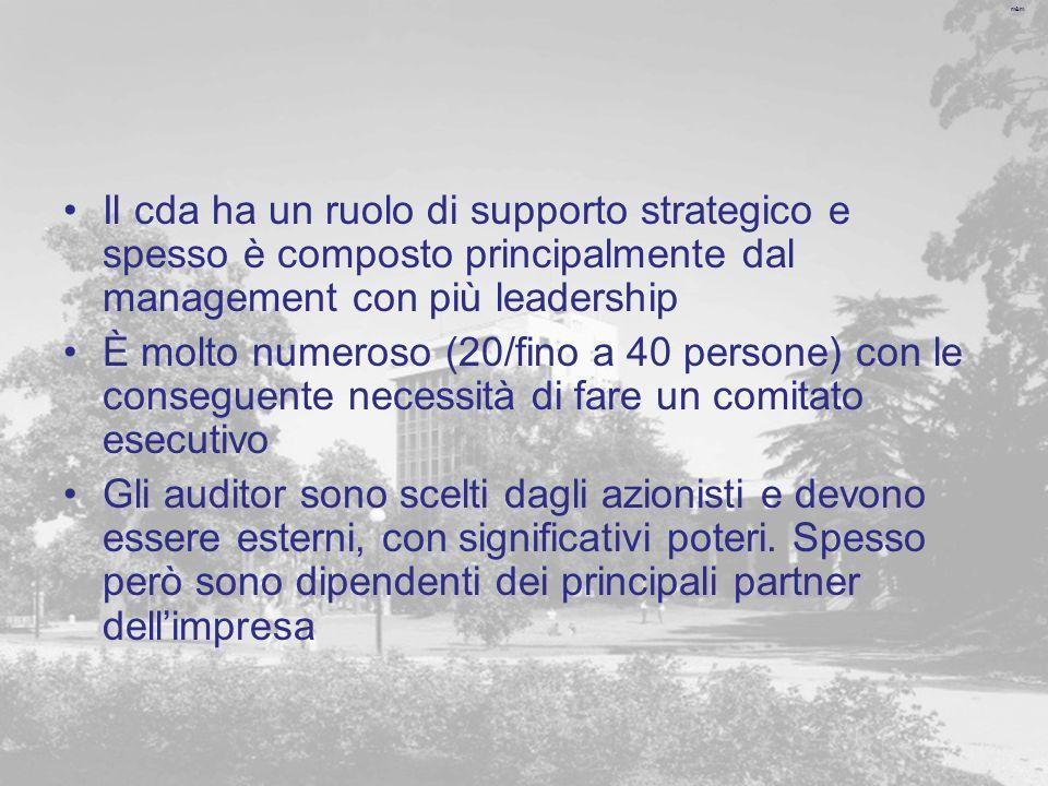 m&m Il cda ha un ruolo di supporto strategico e spesso è composto principalmente dal management con più leadership È molto numeroso (20/fino a 40 persone) con le conseguente necessità di fare un comitato esecutivo Gli auditor sono scelti dagli azionisti e devono essere esterni, con significativi poteri.