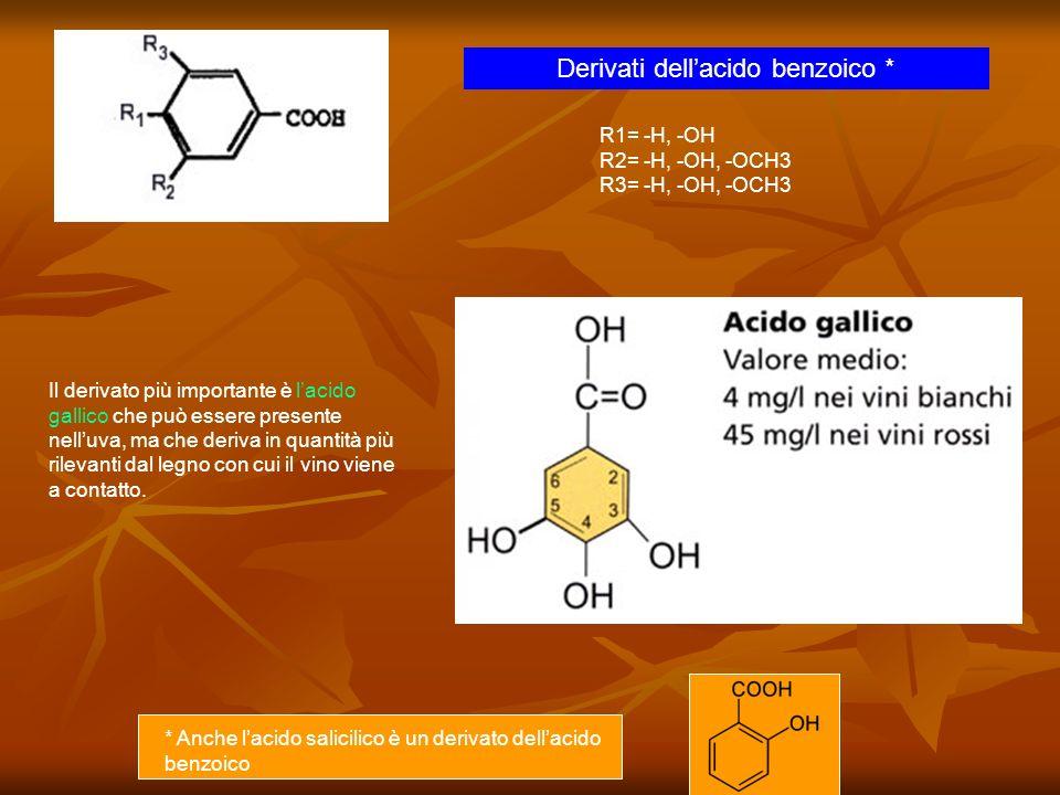 Derivati dellacido benzoico * R1= -H, -OH R2= -H, -OH, -OCH3 R3= -H, -OH, -OCH3 Il derivato più importante è lacido gallico che può essere presente ne