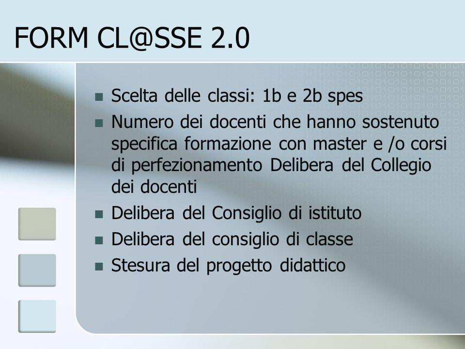 FORM CL@SSE 2.0 Scelta delle classi: 1b e 2b spes Numero dei docenti che hanno sostenuto specifica formazione con master e /o corsi di perfezionamento