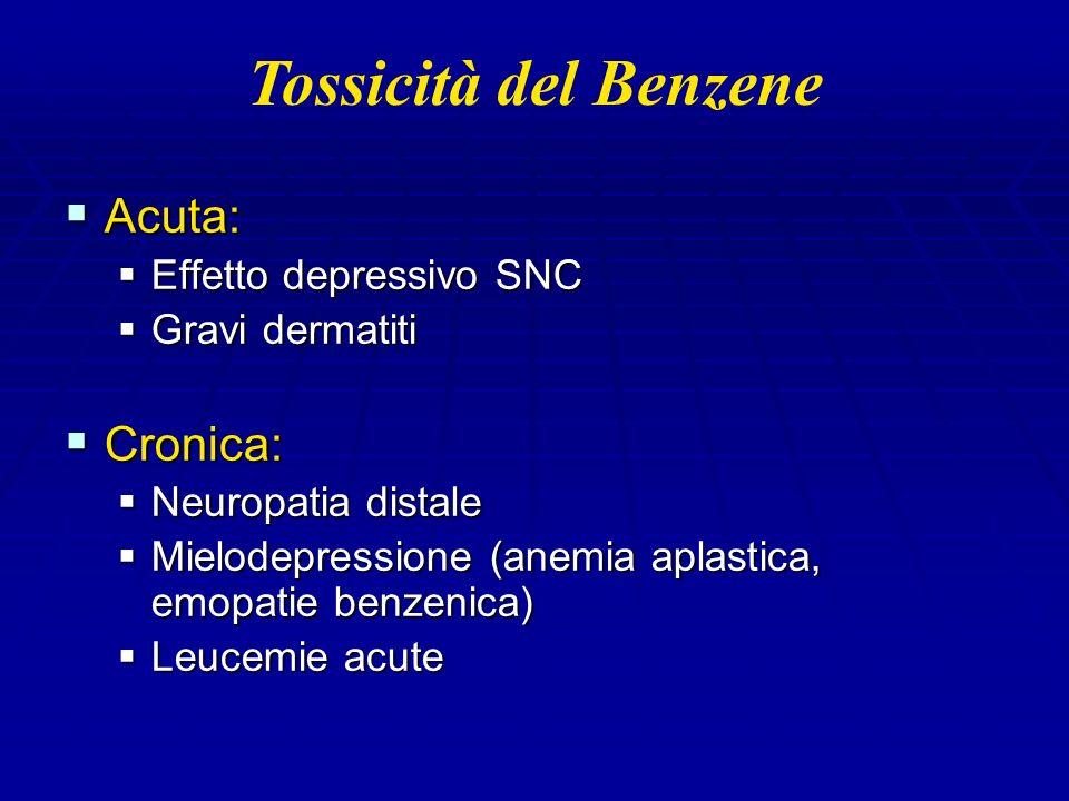 Tossicità del Benzene Acuta: Acuta: Effetto depressivo SNC Effetto depressivo SNC Gravi dermatiti Gravi dermatiti Cronica: Cronica: Neuropatia distale Neuropatia distale Mielodepressione (anemia aplastica, emopatie benzenica) Mielodepressione (anemia aplastica, emopatie benzenica) Leucemie acute Leucemie acute