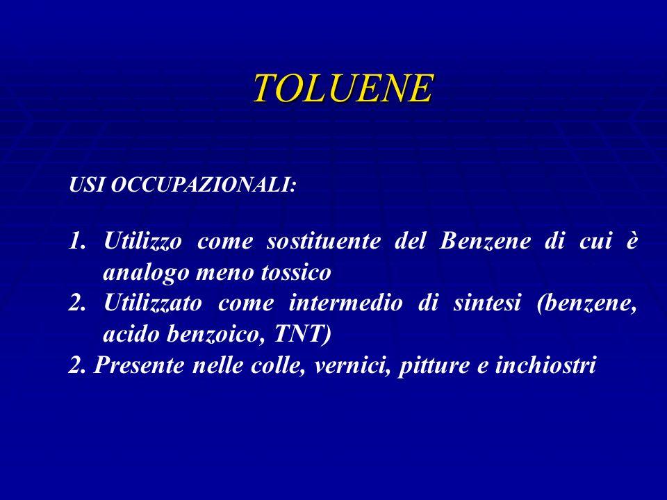 TOLUENE USI OCCUPAZIONALI: 1.Utilizzo come sostituente del Benzene di cui è analogo meno tossico 2.Utilizzato come intermedio di sintesi (benzene, acido benzoico, TNT) 2.