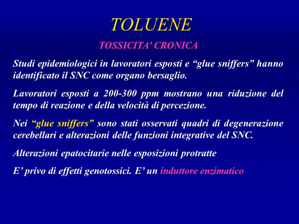 TOLUENE TOSSICITA CRONICA Studi epidemiologici in lavoratori esposti e glue sniffers hanno identificato il SNC come organo bersaglio.