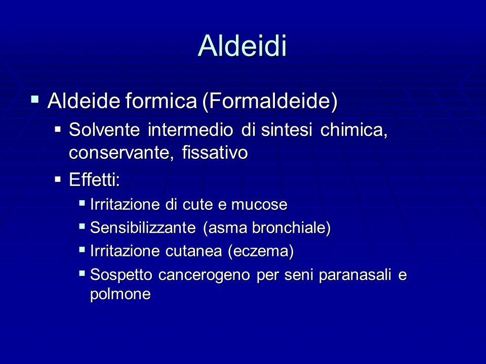 Aldeidi Aldeide formica (Formaldeide) Aldeide formica (Formaldeide) Solvente intermedio di sintesi chimica, conservante, fissativo Solvente intermedio di sintesi chimica, conservante, fissativo Effetti: Effetti: Irritazione di cute e mucose Irritazione di cute e mucose Sensibilizzante (asma bronchiale) Sensibilizzante (asma bronchiale) Irritazione cutanea (eczema) Irritazione cutanea (eczema) Sospetto cancerogeno per seni paranasali e polmone Sospetto cancerogeno per seni paranasali e polmone