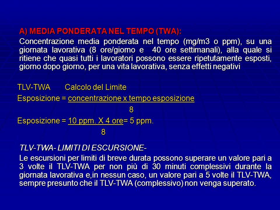 A) MEDIA PONDERATA NEL TEMPO (TWA): Concentrazione media ponderata nel tempo (mg/m3 o ppm), su una giornata lavorativa (8 ore/giorno e 40 ore settimanali), alla quale si ritiene che quasi tutti i lavoratori possono essere ripetutamente esposti, giorno dopo giorno, per una vita lavorativa, senza effetti negativi TLV-TWA Calcolo del Limite Esposizione = concentrazione x tempo esposizione 8 Esposizione = 10 ppm.