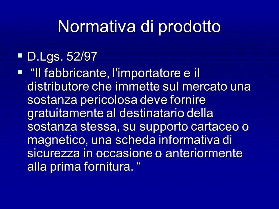 Normativa di prodotto D.Lgs.52/97 D.Lgs.