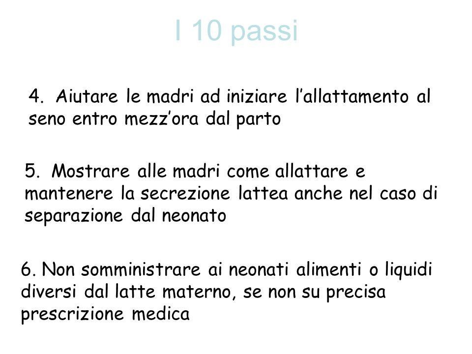 I 10 passi 4. Aiutare le madri ad iniziare lallattamento al seno entro mezzora dal parto 5. Mostrare alle madri come allattare e mantenere la secrezio